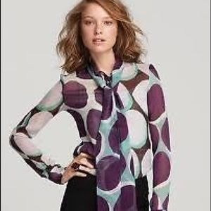 DvF Dariana Tie Neck Geometric Silk Blouse 8